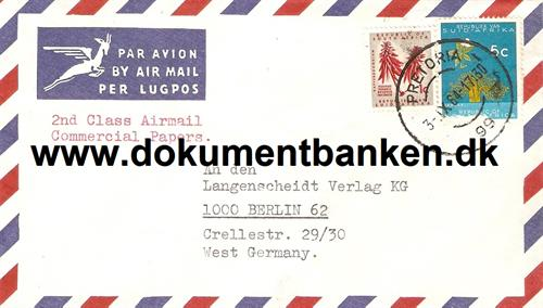 South Africa. Air Mail kuvert 1964