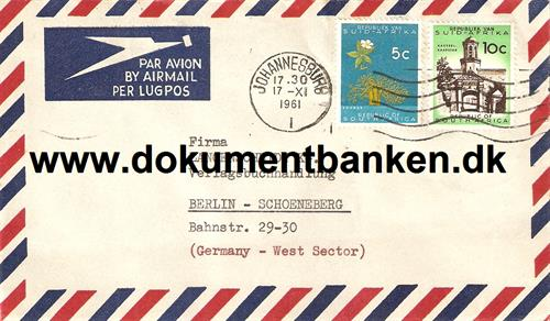 South Africa. Air Mail kuvert 1961