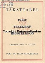 Taksttabel for Post, Telegraf og Rigstelefon 1 juli 1946