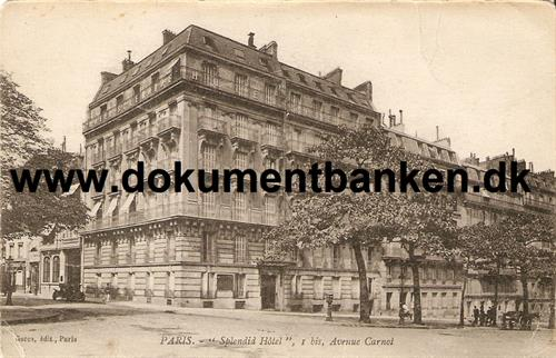 "Paris ""Splendid Hotel"" Avenue Carnot. Carte Postale"