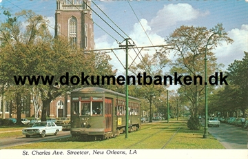 New Orleans. St. Charles Ave. Streetcar. LA. Post Card. 1979