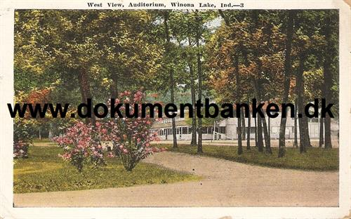 Wiona lake, West View, Auditorium, Indiana, Post Card
