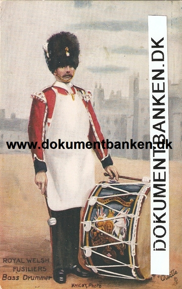 Royal Welsh Fusiliers Bass Drummer. Post Card.