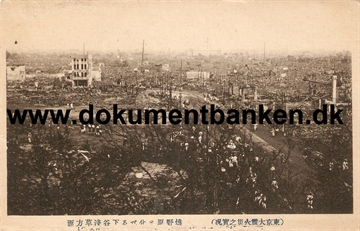 Looking Over Asakusa And Shitaya from Ueno Park. The great earthquake Tokyo 1 september 1923