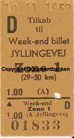Jyllingevej Weekend-billet 1957